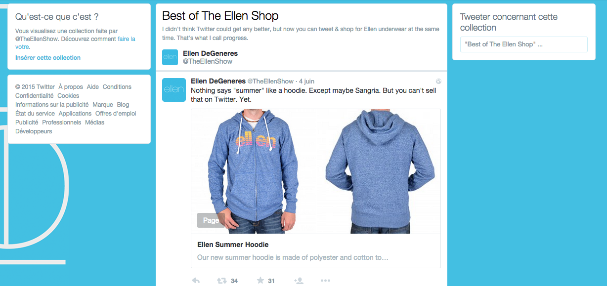 Exemple d'une collection Best of Ellen Shop