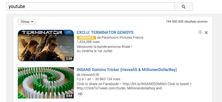 annonce TrueView InSearch
