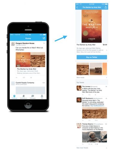 exemple d'une page twitter avec le bouton d'achat